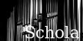 Orgelpfeifen mit Schola-Text